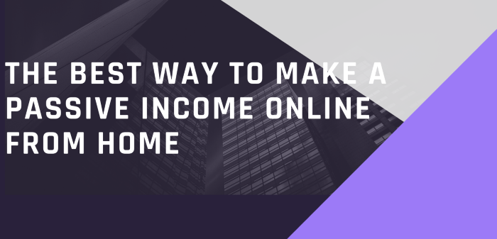 The Best Way To Make A Passive Income Online From Home
